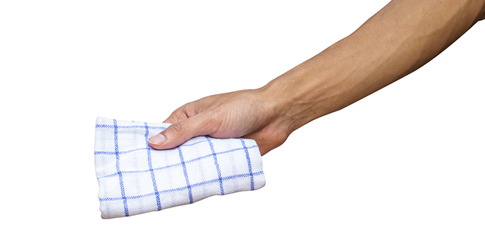 Avoid using common hand towels, napkins, brush